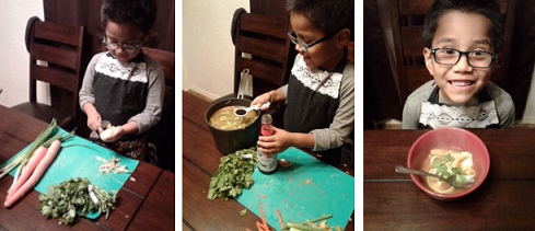 Young boy excitedly preparing a healthy dinner for his family.