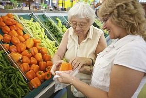 Shutterstock photo of two women shopping in the produce section.